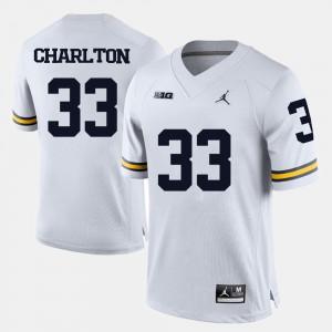 Taco Charlton Michigan Jersey Men's White #33 College Football 194521-830