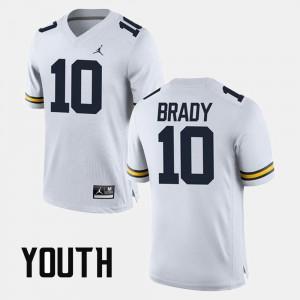 Alumni Football Game White #10 Youth(Kids) Tom Brady Michigan Jersey 464709-534
