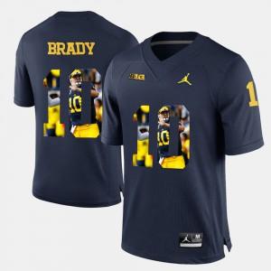 Navy Blue #10 Tom Brady Michigan Jersey For Men's Player Pictorial 218921-683