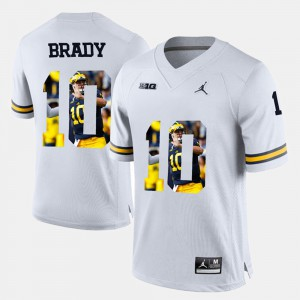 #10 Mens Player Pictorial White Tom Brady Michigan Jersey 871442-545