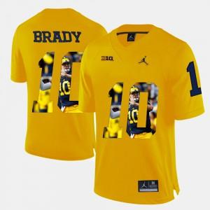#10 Mens Yellow Tom Brady Michigan Jersey Player Pictorial 864339-270
