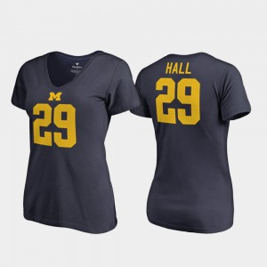 Leon Hall Michigan T-Shirt V-Neck #29 College Legends For Women Navy 854658-756
