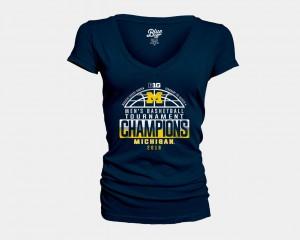 Michigan T-Shirt Navy Basketball Conference Tournament Ladies V-Neck 2018 Big Ten Champions Locker Room 867744-867