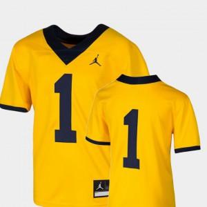 Maize College Football #1 For Kids Team Replica Michigan Jersey 785461-404