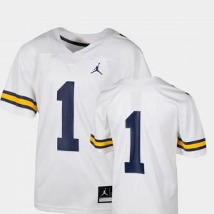 #1 College Football Team Replica White Kids Michigan Jersey 367750-557