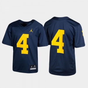 Youth Michigan Jersey Untouchable Football #4 Navy 353147-144