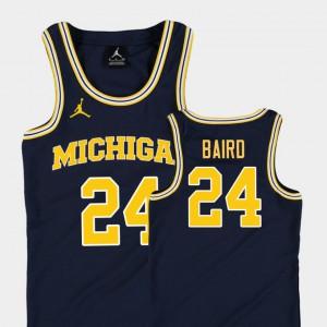 Replica C.J. Baird Michigan Jersey #24 Youth(Kids) Navy College Basketball Jordan 612969-469