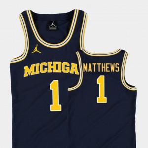 Navy College Basketball Jordan For Kids #1 Charles Matthews Michigan Jersey Replica 183991-996