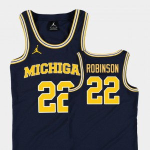 Navy Replica Duncan Robinson Michigan Jersey College Basketball Jordan Kids #22 306461-115