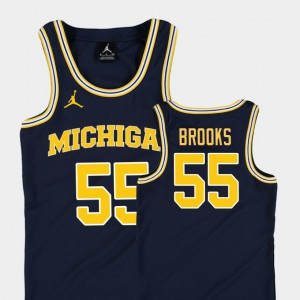 Eli Brooks Michigan Jersey For Kids College Basketball Jordan #55 Replica Navy 633149-584