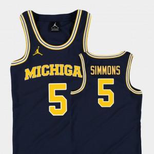 Navy Jaaron Simmons Michigan Jersey College Basketball Jordan Replica Kids #5 749951-284