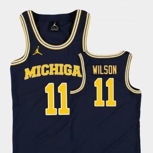 #11 Replica Navy College Basketball Jordan Youth(Kids) Luke Wilson Michigan Jersey 672227-953
