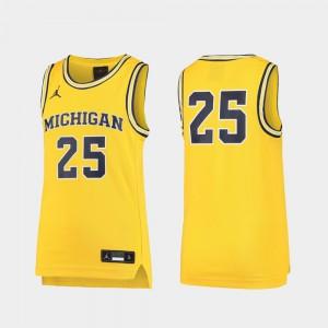 Maize #25 For Kids Michigan Jersey Replica Basketball 317578-528