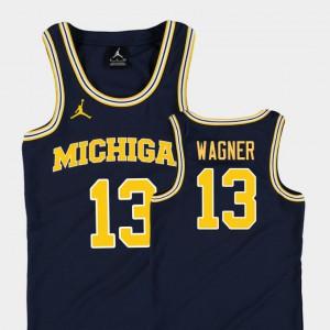 College Basketball Jordan #13 Navy Replica Youth(Kids) Moritz Wagner Michigan Jersey 781018-340