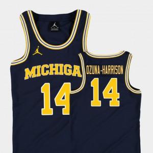 Rico Ozuna-Harrison Michigan Jersey Replica #14 College Basketball Jordan Kids Navy 905564-500