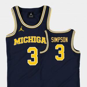 College Basketball Jordan Replica Navy Kids Zavier Simpson Michigan Jersey #3 255899-864